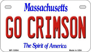 Go Crimson Massachusetts Wholesale Novelty Metal Motorcycle Plate MP-10994