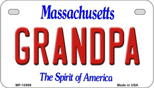Grandpa Massachusetts Wholesale Novelty Metal Motorcycle Plate MP-10998