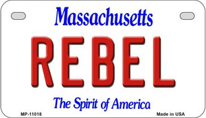 Rebel Massachusetts Wholesale Novelty Metal Motorcycle Plate MP-11018