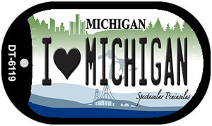 I Love Michigan Wholesale Novelty Metal Dog Tag Necklace DT-6119