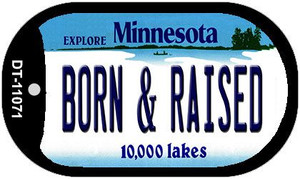 Born and Raised Minnesota Wholesale Novelty Metal Dog Tag Necklace DT-11071