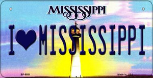 I Love Mississippi Wholesale Novelty Metal Bicycle Plate BP-6581