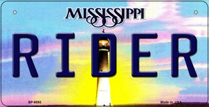 Rider Mississippi Wholesale Novelty Metal Bicycle Plate BP-6593