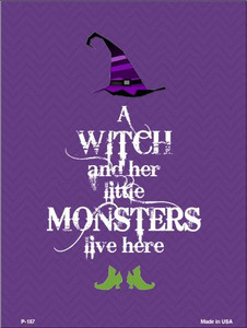 Witch And Monsters Wholesale Metal Novelty Parking Sign P-187