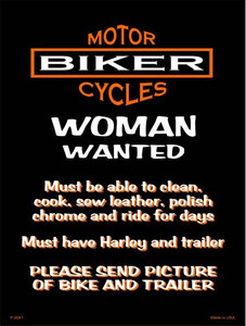 Woman Wanted Wholesale Metal Novelty Parking Sign