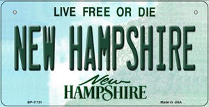 New Hampshire Wholesale Novelty Metal Bicycle Plate BP-11131