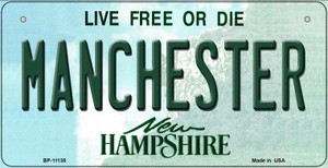 Manchester New Hampshire Wholesale Novelty Metal Bicycle Plate BP-11135