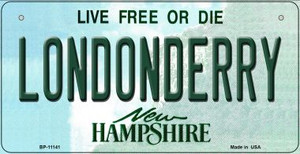 Londonderry New Hampshire Wholesale Novelty Metal Bicycle Plate BP-11141