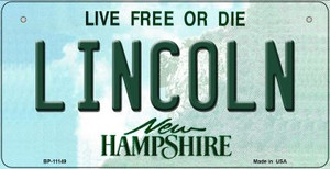 Lincoln New Hampshire Wholesale Novelty Metal Bicycle Plate BP-11149