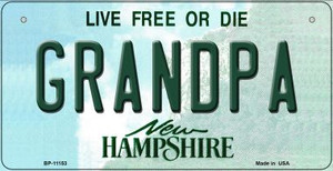 Grandpa New Hampshire Wholesale Novelty Metal Bicycle Plate BP-11153