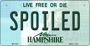 Spoiled New Hampshire Wholesale Novelty Metal Bicycle Plate BP-11157