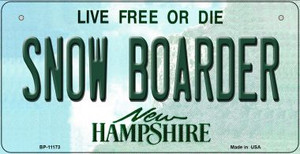 Snow Boarder New Hampshire Wholesale Novelty Metal Bicycle Plate BP-11173