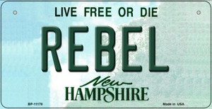 Rebel New Hampshire Wholesale Novelty Metal Bicycle Plate BP-11178
