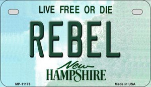 Rebel New Hampshire Wholesale Novelty Metal Motorcycle Plate MP-11178