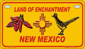 Red Chili and Road Runner Yellow New Mexico Wholesale Novelty Metal Motorcycle Plate MP-1529
