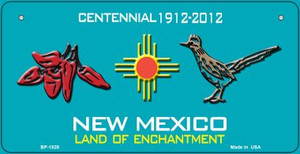 Red Chili and Road Runner Teal New Mexico Wholesale Novelty Metal Bicycle Plate BP-1528