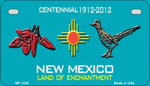Red Chili and Road Runner Teal New Mexico Wholesale Novelty Metal Motorcycle Plate MP-1528