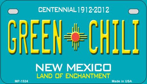 Green Chili Teal New Mexico Wholesale Novelty Metal Motorcycle Plate MP-1524