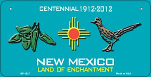 Green Chili and Road Runner Teal New Mexico Wholesale Novelty Metal Bicycle Plate BP-1527