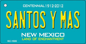 Santos Y Mas Teal New Mexico Wholesale Novelty Metal Key Chain KC-1535