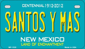 Santos Y Mas Teal New Mexico Wholesale Novelty Metal Motorcycle Plate MP-1535