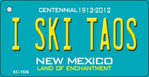 I Ski Taos Teal New Mexico Wholesale Novelty Metal Key Chain KC-1536