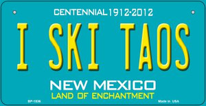 I Ski Taos Teal New Mexico Wholesale Novelty Metal Bicycle Plate BP-1536