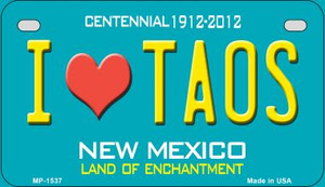 I Love Taos Teal New Mexico Wholesale Novelty Metal Motorcycle Plate MP-1537