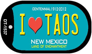 I Love Taos Teal New Mexico Wholesale Novelty Metal Dog Tag Necklace DT-1537