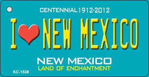 I Love New Mexico Teal New Mexico Wholesale Novelty Metal Key Chain KC-1538