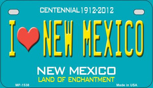 I Love New Mexico Teal New Mexico Wholesale Novelty Metal Motorcycle Plate MP-1538
