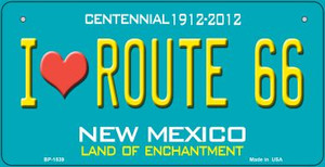 I Love Route 66 Teal New Mexico Wholesale Novelty Metal Bicycle Plate BP-1539