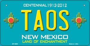 Taos Teal New Mexico Wholesale Novelty Metal Bicycle Plate BP-5009