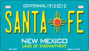 Santa Fe Teal New Mexico Wholesale Novelty Metal Motorcycle Plate MP-2786