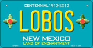 Lobos Teal New Mexico Wholesale Novelty Metal Bicycle Plate BP-2792