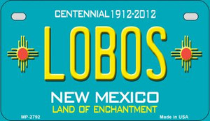 Lobos Teal New Mexico Wholesale Novelty Metal Motorcycle Plate MP-2792