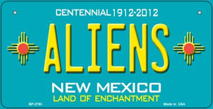 Aliens Teal New Mexico Wholesale Novelty Metal Bicycle Plate BP-2793