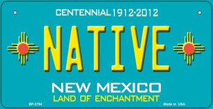 Native Teal New Mexico Wholesale Novelty Metal Bicycle Plate BP-2794