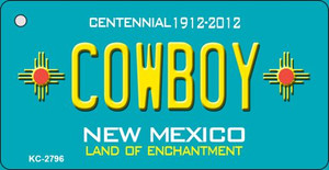 Cowboy Teal New Mexico Wholesale Novelty Metal Key Chain KC-2796