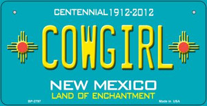 Cowgirl Teal New Mexico Wholesale Novelty Metal Bicycle Plate BP-2797