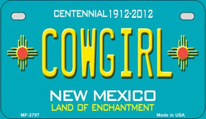 Cowgirl Teal New Mexico Wholesale Novelty Metal Motorcycle Plate MP-2797