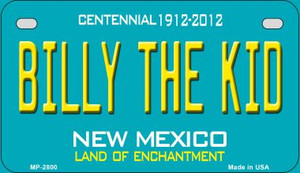 Billy The Kid Teal New Mexico Wholesale Novelty Metal Motorcycle Plate MP-2800