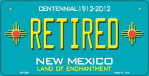 Retired Teal New Mexico Wholesale Novelty Metal Bicycle Plate BP-2801
