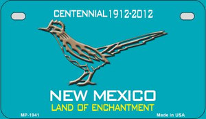 Road Runner Teal New Mexico Wholesale Novelty Metal Motorcycle Plate MP-1941