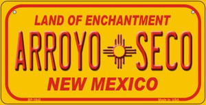 Arroyo Seco Yellow New Mexico Wholesale Novelty Metal Bicycle Plate BP-1942