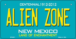Alien Zone Teal New Mexico Wholesale Novelty Metal Bicycle Plate BP-6671