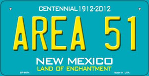 Area 51 Teal New Mexico Wholesale Novelty Metal Bicycle Plate BP-6674