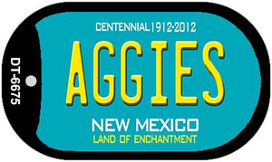 Aggies Teal New Mexico Wholesale Novelty Metal Dog Tag Necklace DT-6675