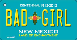 Bad Girl Teal New Mexico Wholesale Novelty Metal Key Chain KC-6680