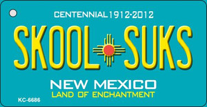 Skool Suks Teal New Mexico Wholesale Novelty Metal Key Chain KC-6686